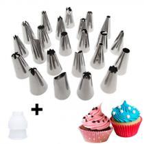 Kit com 24 Bicos Inox para Confeitar Bolos e Cupcakes + Adaptador  Yazi -