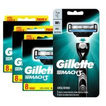 Kit com 24 Carga Gillette Mach3 Leve 8 Pague 6 + 1 Aparelho de Barbear Gillette Mach3 -