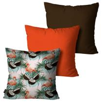 Kit com 3 Almofadas Decorativas Laranja Flamingo Summer - Pump up
