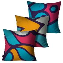 Kit com 3 Almofadas Decorativas Turquesa Abstrato - Pump up
