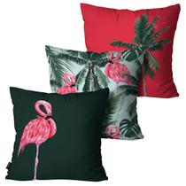 Kit com 3 Almofadas Decorativas Vermelho Flamingo Summer - Pump up
