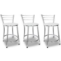 kit com 3 Banquetas Baixas Cairo Cromada Assento Branco  Itagold -