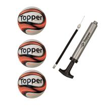 Kit com 3 Bolas De Futsal Topper Dominator + Brinde Bomba de Ar Topper Special -