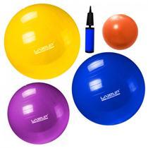 Kit com 3 Bolas Suicas Nos Tamanhos 55 Cm + 65 Cm + 75 Cm + 1 Overball  Liveup -