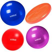 Kit com 3 Bolas Suicas Tamanhos 45 Cm + 55 Cm + 65 Cm + Disco Inflavel  Liveup -