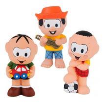 Kit Com 3 Bonecos Mordedor Para Bebê Turma Da Mônica Vinil - Chico Bento Cebolinha e Cascão - La Toy