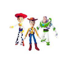 Kit com 3 bonecos toy story vinil buzz, jessie e woody articulado original lider -