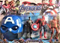 Kit com 3 bonecos vingadores + máscara do capitão américa - Avengers