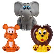 Kit Com 3 Brinquedos De Vinil Para Bebê A Partir De 3 Meses - Elefante - Tigre - Leão - Cometa
