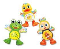 Kit com 3 brinquedos Pato + Abelha + Sapo Dançante Musical Dança Anda Luz E Som Para Crianças - Emporio Magazine