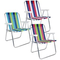Kit com 3 Cadeiras de Praia e Piscina Alta 25500 Cores Variadas Alumínio Belfix - Bel Fix