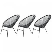Kit com 3 Cadeiras para Jardim Circulares Caribe Famais Preto -