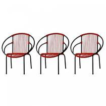 Kit com 3 Cadeiras para Jardim Circulares Eclipse Famais Vermelho/Preto -