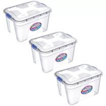 Kit com 3 caixas organizadoras 30 litros preta pp com travas uninjet - 0772 utilidade plastico -