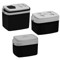 Kit com 3 Caixas Térmicas de 32,12 e 5 Litros - Preto - Soprano