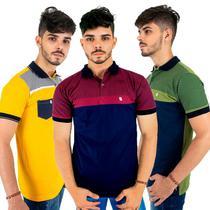 Kit com 3 Camisas Polo Listradas Masculinas de Algodão - Blitz