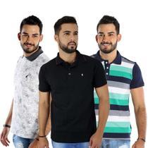 Kit com 3 Camisas Polo Masculinas Listradas Bamborra - Bamborra denim