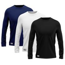 Kit com 3 Camisetas Camisas MXC BRASIL Manga Longa Lisa Proteção Solar UV +50 Preta Azul Marinho Branca -