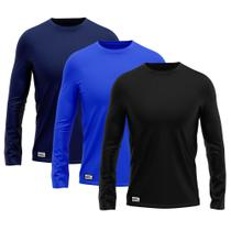 Kit com 3 Camisetas Camisas MXC BRASIL Manga Longa Lisa Proteção Solar UV +50 Preta Azul Royal Marinho -