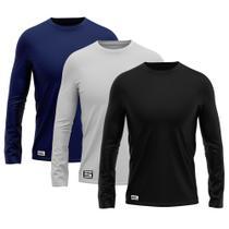 Kit com 3 Camisetas Camisas MXC BRASIL Manga Longa Lisa Proteção Solar UV +50 Preta Cinza Azul Marinho -
