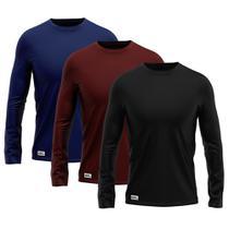 Kit com 3 Camisetas Camisas MXC BRASIL Manga Longa Lisa Proteção Solar UV +50 -