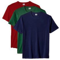 Kit com 3 Camisetas Masculina Básica Algodão Premium Azul Verde e Vinho - Part.B