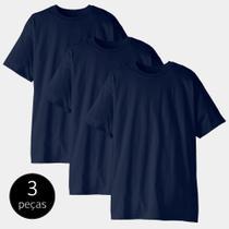 Kit com 3 camisetas masculina t-shirt 100% algodão azul marinho tee - Part.b