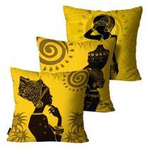 Kit com 3 Capas para Almofadas Africana Amarela - Mdecore