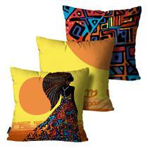 Kit com 3 Capas para Almofadas Africana Colorido - Mdecore