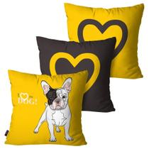 Kit com 3 Capas para Almofadas Decorativas Amarelo Love Dog - Pump up