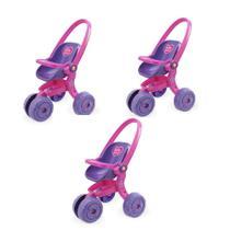 Kit com 3 carrinhos de boneca baby love - 278 - usual brinquedos -