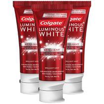 Kit com 3 Cremes Dentais Colgate Luminous White Brilliant 70g -