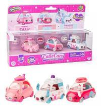 Kit com 3 Cutie Cars Coleção Chá da Tarde - Shopkins - Série 3 - Die Cast - DTC -