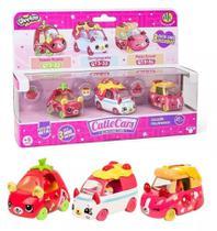 Kit com 3 Cutie Cars Coleção Italianinhos - Shopkins - Série 3 - Die Cast - DTC -