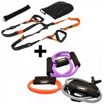 Kit com 3 Elasticos Tensao Media + Fita Trx com Regulagem Liveup -