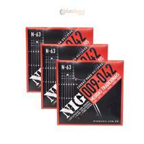 Kit com 3 Encordoamento Guitarra Nig Tradicional .009/.042 N63 -