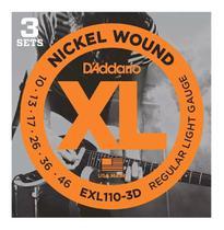 Kit com 3 Encordoamentos Guitarra D'addario Exl110-3d .010-.046 - Daddario