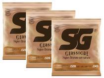Kit com 3 Encordoamentos para Violão Nylon SG Strings Tensão Média com Bolinha -
