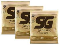 Kit com 3 Encordoamentos para Violão SG Strings Aço 010 Bronze -