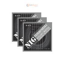 Kit com 3 Encordoamentos Violão Nylon Nig tensão Média N475 com Bolinha -