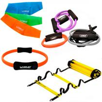 Kit com 3 Extensores Medio + 3 Mini Bands + Arco Pilates + Escada de Chao 4m  liveup -