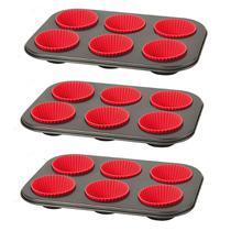 Kit Com 3 Formas Para Cupcake Com 6 Forminhas de Silicone - Emcasa