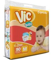 Kit Com 3 Fraldas Capricho Vic Baby M Atacado Com 270 Unid. - Capricho Vic Baby Mega
