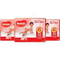 Kit com 3 Fraldas Huggies Supreme Care G - 96 unidades -