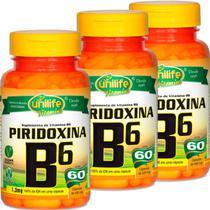 Kit com 3 Frascos de Vitamina B6 Piridoxina 60 Cápsulas Unilife -