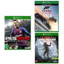 Kit com 3 Jogos Xbox PES 2019 e Forza Horizon 3 e Rise of the Tomb Raider - Microsoft