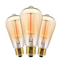 Kit com 3 Lâmpadas Filamento Carbono ST64 40w 127V 2000K 48LCARST6401 Elgin -