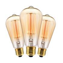 Kit com 3 Lâmpadas Filamento Carbono ST64 40w 220V 2000K 48LCARST6402 Elgin -