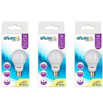 Kit com 3 Lâmpadas LED Galaxy Bulbo 7W 6500K E-27 Bivolt Bulbo A55 -