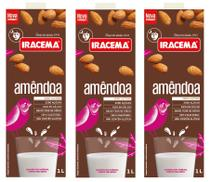 Kit com 3 Leite de Amêndoa 1L Iracema - Bebida Vegetal -